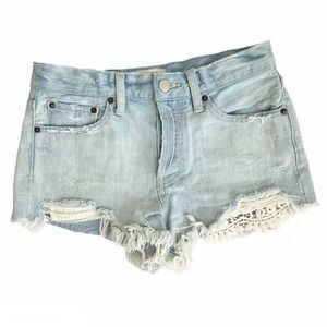 Free People Daisy Chain Lace Jean Cut Off Shorts